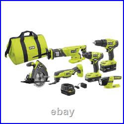 18 Volt Power Tool Combo Set Cordless 6 Tool with Batteries Bag and Charger