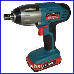 24v Li-Ion Cordless Impact Wrench Gun 1/2'' Drive With 2 Twin Lithium Battery