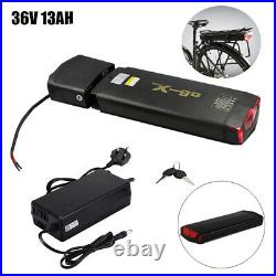 36V 13AH 350W 500W Rear Carrier Lithium li-ion Bicycle Electric Battery LED Bike