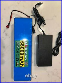 48v Ebike 58ah Battery Pack lithium ion battery 1000w bike Scooter & charger