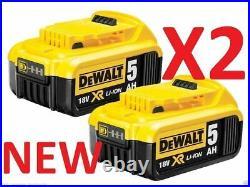 DEWALT 2 x DCB184 18V XR 5.0AH Battery Lithium Ion BRAND NEW Li-Ion Genuine