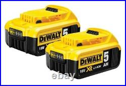 Dewalt DCB184 5.0ah 18v XR Lithium Ion Battery Twin Pack + DCB115 Charger
