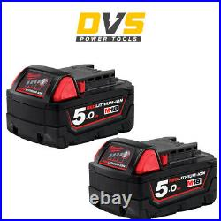 Genuine Milwaukee 2 x M18B5 Red Lithium-Ion 18V 5Ah Battery Twin Pack