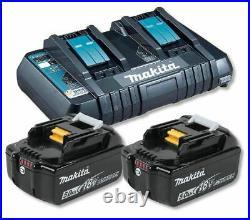 Makita DC18RD Dual Charger with 2 x BL1850B 5.0ah Li-Ion Batteries Kit Genuine