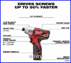 Milwaukee 2499-25 M12 12V Lithium-Ion Combo Kit (5-Tool) Drill Impact 2X Battery