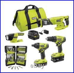 RYOBI 4-Tool Combo Kit with (2) Batteries Charger & Bag with FREE Impact Driver Set